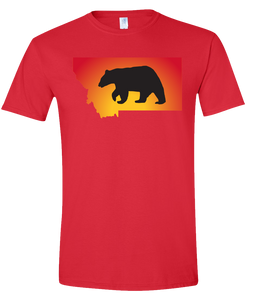 Short Sleeve T-Shirt Montana Red Black Bear Vibrant Design High Quality Tight Knit Ring Spun Low Maintenance Cotton Printed With The Newest Available Color Transfer Technology