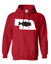 Load image into Gallery viewer, Pullover Hooded Sweatshirt Nebraska Red Large Mouth Bass Vibrant Design High Quality Tight Knit Ring Spun Low Maintenance Cotton Printed With The Newest Available Color Transfer Technology