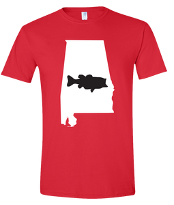 Short Sleeve T-Shirt Alabama Red Large Mouth Bass Vibrant Design High Quality Tight Knit Ring Spun Low Maintenance Cotton Printed With The Newest Available Color Transfer Technology