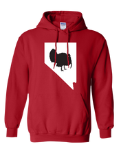 Load image into Gallery viewer, Pullover Hooded Sweatshirt Nevada Red Turkey Vibrant Design High Quality Tight Knit Ring Spun Low Maintenance Cotton Printed With The Newest Available Color Transfer Technology