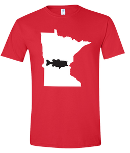 Short Sleeve T-Shirt Minnesota Red Large Mouth Bass Vibrant Design High Quality Tight Knit Ring Spun Low Maintenance Cotton Printed With The Newest Available Color Transfer Technology