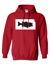 Load image into Gallery viewer, Pullover Hooded Sweatshirt Kansas Red Large Mouth Bass Vibrant Design High Quality Tight Knit Ring Spun Low Maintenance Cotton Printed With The Newest Available Color Transfer Technology