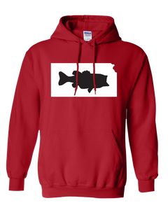 Pullover Hooded Sweatshirt Kansas Red Large Mouth Bass Vibrant Design High Quality Tight Knit Ring Spun Low Maintenance Cotton Printed With The Newest Available Color Transfer Technology