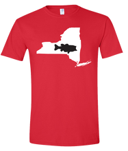 Load image into Gallery viewer, Short Sleeve T-Shirt New York Red Large Mouth Bass Vibrant Design High Quality Tight Knit Ring Spun Low Maintenance Cotton Printed With The Newest Available Color Transfer Technology