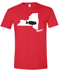 Short Sleeve T-Shirt New York Red Large Mouth Bass Vibrant Design High Quality Tight Knit Ring Spun Low Maintenance Cotton Printed With The Newest Available Color Transfer Technology