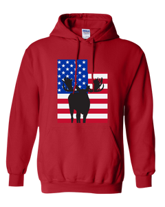 Pullover Hooded Sweatshirt Utah Red Moose Vibrant Design High Quality Tight Knit Ring Spun Low Maintenance Cotton Printed With The Newest Available Color Transfer Technology