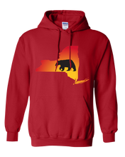 Load image into Gallery viewer, Pullover Hooded Sweatshirt New York Red Black Bear Vibrant Design High Quality Tight Knit Ring Spun Low Maintenance Cotton Printed With The Newest Available Color Transfer Technology