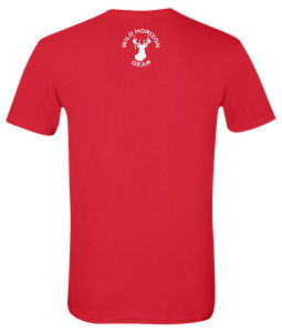 Short Sleeve T-Shirt West Virginia Red Whitetail Deer Vibrant Design High Quality Tight Knit Ring Spun Low Maintenance Cotton Printed With The Newest Available Color Transfer Technology