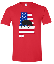 Load image into Gallery viewer, Short Sleeve T-Shirt Alabama Red Wild Hog Vibrant Design High Quality Tight Knit Ring Spun Low Maintenance Cotton Printed With The Newest Available Color Transfer Technology
