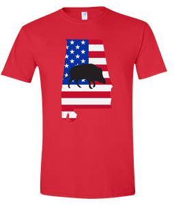 Short Sleeve T-Shirt Alabama Red Wild Hog Vibrant Design High Quality Tight Knit Ring Spun Low Maintenance Cotton Printed With The Newest Available Color Transfer Technology
