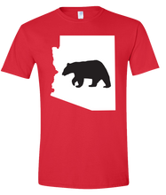 Load image into Gallery viewer, Short Sleeve T-Shirt Arizona Red Black Bear Vibrant Design High Quality Tight Knit Ring Spun Low Maintenance Cotton Printed With The Newest Available Color Transfer Technology