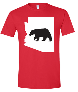 Short Sleeve T-Shirt Arizona Red Black Bear Vibrant Design High Quality Tight Knit Ring Spun Low Maintenance Cotton Printed With The Newest Available Color Transfer Technology