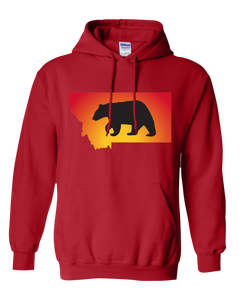Pullover Hooded Sweatshirt Montana Red Black Bear Vibrant Design High Quality Tight Knit Ring Spun Low Maintenance Cotton Printed With The Newest Available Color Transfer Technology