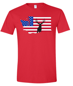 Short Sleeve T-Shirt Washington Red Mule Deer Vibrant Design High Quality Tight Knit Ring Spun Low Maintenance Cotton Printed With The Newest Available Color Transfer Technology