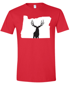 Short Sleeve T-Shirt Oregon Red Mule Deer Vibrant Design High Quality Tight Knit Ring Spun Low Maintenance Cotton Printed With The Newest Available Color Transfer Technology
