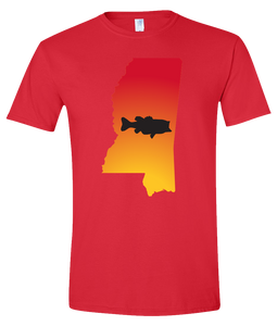 Short Sleeve T-Shirt Mississippi Red Large Mouth Bass Vibrant Design High Quality Tight Knit Ring Spun Low Maintenance Cotton Printed With The Newest Available Color Transfer Technology