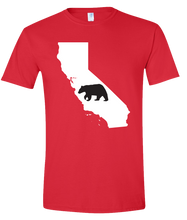Load image into Gallery viewer, Short Sleeve T-Shirt California Red Black Bear Vibrant Design High Quality Tight Knit Ring Spun Low Maintenance Cotton Printed With The Newest Available Color Transfer Technology