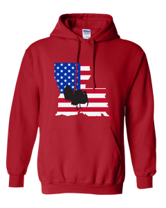 Pullover Hooded Sweatshirt Louisiana Red Turkey Vibrant Design High Quality Tight Knit Ring Spun Low Maintenance Cotton Printed With The Newest Available Color Transfer Technology