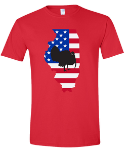 Short Sleeve T-Shirt Illinois Red Turkey Vibrant Design High Quality Tight Knit Ring Spun Low Maintenance Cotton Printed With The Newest Available Color Transfer Technology