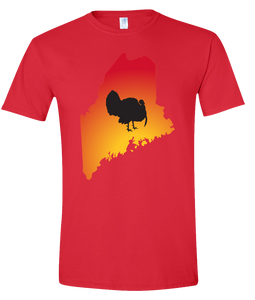 Short Sleeve T-Shirt Maine Red Turkey Vibrant Design High Quality Tight Knit Ring Spun Low Maintenance Cotton Printed With The Newest Available Color Transfer Technology