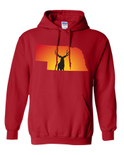 Load image into Gallery viewer, Pullover Hooded Sweatshirt Nebraska Red Mule Deer Vibrant Design High Quality Tight Knit Ring Spun Low Maintenance Cotton Printed With The Newest Available Color Transfer Technology