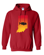 Load image into Gallery viewer, Pullover Hooded Sweatshirt Indiana Red Large Mouth Bass Vibrant Design High Quality Tight Knit Ring Spun Low Maintenance Cotton Printed With The Newest Available Color Transfer Technology