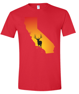 Short Sleeve T-Shirt California Red Elk Vibrant Design High Quality Tight Knit Ring Spun Low Maintenance Cotton Printed With The Newest Available Color Transfer Technology