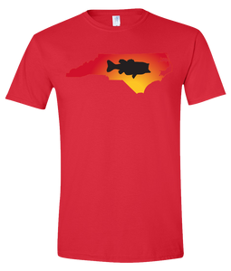 Short Sleeve T-Shirt North Carolina Red Large Mouth Bass Vibrant Design High Quality Tight Knit Ring Spun Low Maintenance Cotton Printed With The Newest Available Color Transfer Technology