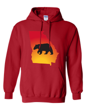 Load image into Gallery viewer, Pullover Hooded Sweatshirt Georgia Red Black Bear Vibrant Design High Quality Tight Knit Ring Spun Low Maintenance Cotton Printed With The Newest Available Color Transfer Technology