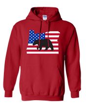Load image into Gallery viewer, Pullover Hooded Sweatshirt Oregon Red Black Bear Vibrant Design High Quality Tight Knit Ring Spun Low Maintenance Cotton Printed With The Newest Available Color Transfer Technology