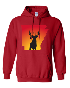Pullover Hooded Sweatshirt Arkansas Red Whitetail Deer Vibrant Design High Quality Tight Knit Ring Spun Low Maintenance Cotton Printed With The Newest Available Color Transfer Technology