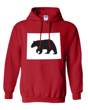 Load image into Gallery viewer, Pullover Hooded Sweatshirt Wyoming Red Black Bear Vibrant Design High Quality Tight Knit Ring Spun Low Maintenance Cotton Printed With The Newest Available Color Transfer Technology