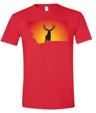 Load image into Gallery viewer, Short Sleeve T-Shirt Montana Red Mule Deer Vibrant Design High Quality Tight Knit Ring Spun Low Maintenance Cotton Printed With The Newest Available Color Transfer Technology