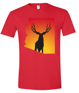 Short Sleeve T-Shirt Arizona Red Mule Deer Vibrant Design High Quality Tight Knit Ring Spun Low Maintenance Cotton Printed With The Newest Available Color Transfer Technology
