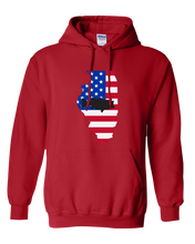 Load image into Gallery viewer, Pullover Hooded Sweatshirt Illinois Red Large Mouth Bass Vibrant Design High Quality Tight Knit Ring Spun Low Maintenance Cotton Printed With The Newest Available Color Transfer Technology