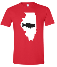 Load image into Gallery viewer, Short Sleeve T-Shirt Illinois Red Large Mouth Bass Vibrant Design High Quality Tight Knit Ring Spun Low Maintenance Cotton Printed With The Newest Available Color Transfer Technology