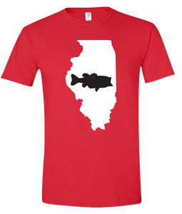 Short Sleeve T-Shirt Illinois Red Large Mouth Bass Vibrant Design High Quality Tight Knit Ring Spun Low Maintenance Cotton Printed With The Newest Available Color Transfer Technology