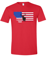 Load image into Gallery viewer, Short Sleeve T-Shirt Montana Red Elk Vibrant Design High Quality Tight Knit Ring Spun Low Maintenance Cotton Printed With The Newest Available Color Transfer Technology
