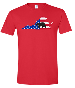 Short Sleeve T-Shirt Virginia Red Black Bear Vibrant Design High Quality Tight Knit Ring Spun Low Maintenance Cotton Printed With The Newest Available Color Transfer Technology