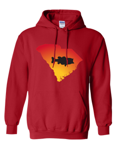 Pullover Hooded Sweatshirt South Carolina Red Large Mouth Bass Vibrant Design High Quality Tight Knit Ring Spun Low Maintenance Cotton Printed With The Newest Available Color Transfer Technology