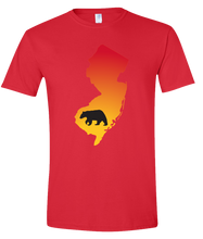 Load image into Gallery viewer, Short Sleeve T-Shirt New Jersey Red Black Bear Vibrant Design High Quality Tight Knit Ring Spun Low Maintenance Cotton Printed With The Newest Available Color Transfer Technology