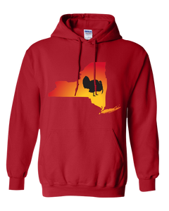 Pullover Hooded Sweatshirt New York Red Turkey Vibrant Design High Quality Tight Knit Ring Spun Low Maintenance Cotton Printed With The Newest Available Color Transfer Technology