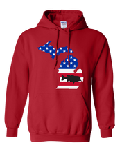 Load image into Gallery viewer, Pullover Hooded Sweatshirt Michigan Red Large Mouth Bass Vibrant Design High Quality Tight Knit Ring Spun Low Maintenance Cotton Printed With The Newest Available Color Transfer Technology