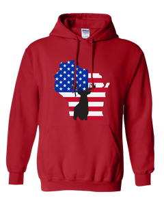 Pullover Hooded Sweatshirt Wisconsin Red Whitetail Deer Vibrant Design High Quality Tight Knit Ring Spun Low Maintenance Cotton Printed With The Newest Available Color Transfer Technology
