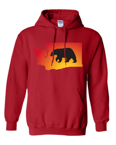 Pullover Hooded Sweatshirt Washington Red Black Bear Vibrant Design High Quality Tight Knit Ring Spun Low Maintenance Cotton Printed With The Newest Available Color Transfer Technology