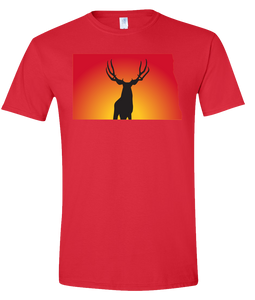 Short Sleeve T-Shirt North Dakota Red Mule Deer Vibrant Design High Quality Tight Knit Ring Spun Low Maintenance Cotton Printed With The Newest Available Color Transfer Technology
