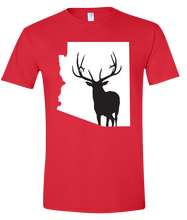 Load image into Gallery viewer, Short Sleeve T-Shirt Arizona Red Elk Vibrant Design High Quality Tight Knit Ring Spun Low Maintenance Cotton Printed With The Newest Available Color Transfer Technology