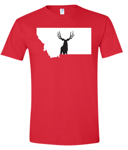 Short Sleeve T-Shirt Montana Red Mule Deer Vibrant Design High Quality Tight Knit Ring Spun Low Maintenance Cotton Printed With The Newest Available Color Transfer Technology