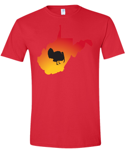 Short Sleeve T-Shirt West Virginia Red Turkey Vibrant Design High Quality Tight Knit Ring Spun Low Maintenance Cotton Printed With The Newest Available Color Transfer Technology