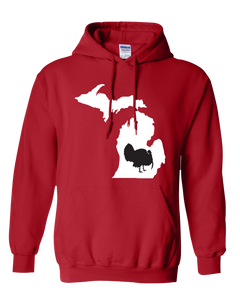 Pullover Hooded Sweatshirt Michigan Red Turkey Vibrant Design High Quality Tight Knit Ring Spun Low Maintenance Cotton Printed With The Newest Available Color Transfer Technology